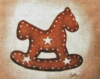 Coupon design fabric rocking horse gingerbread for holiday textile design