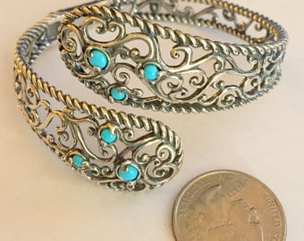 Sleeping Beauty Turquoise Bypass Cuff Bracelet - Sterling Silver - by Carolyn Pollack