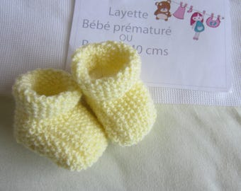 """""""Yellow"""" premature baby shoes or doll"""