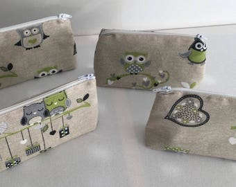 patterns owls makeup pouch