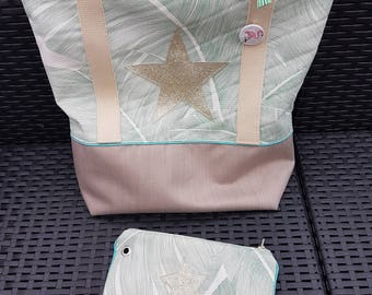 s canvas leaves with matching wallet and beige Beach tote bag.