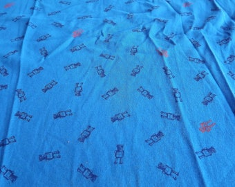 JERSEY cotton fabric blue patterns robots