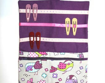 Children's personalized toilet bag for storing, elastic straps and darling for girls; Purple and birds.