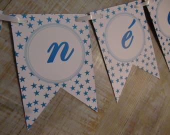 """Happy new year"" - blue stars mINI-Banderole"