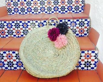 ESME- Round Moroccan Straw Basket - Ibiza French Market Shopper- Beach Bag- Pom Pom-  Bohemian Hippie Style Tote