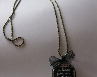 """Pendant necklace/retro/vintage bronze with glass cabochon 25mm """"My Mistress louse kisses"""""""
