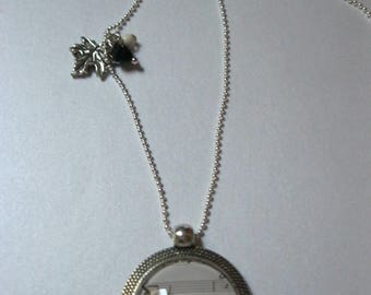 """Pendant/necklace retro/vintage with silver glass cabochon 25 mm """"Violin and music notes"""" """""""