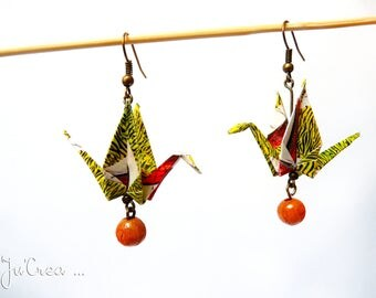 African crane Origami earrings