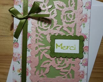 Pink and green thank you card