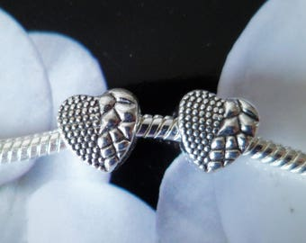 1 Metal bead heart 10 mm snake pattern