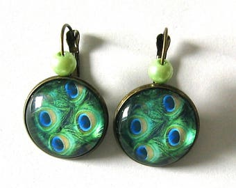 Earrings 20mm cabochon jewelry * Peacock feather *.