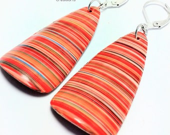 Earrings in polymer clay (fimo type), striped, orange colors, and others (multicolor)