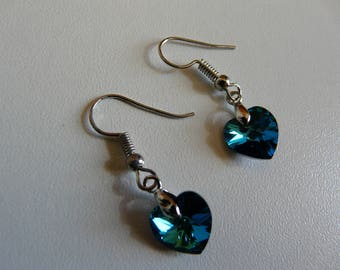 EARRINGS - SWAROVSKI CRYSTAL - CRYSTAL BERMUDA BLUE HEART