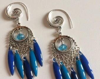 BOUCLES D'OREILLES camaïeu bleu avec navettes émaillées