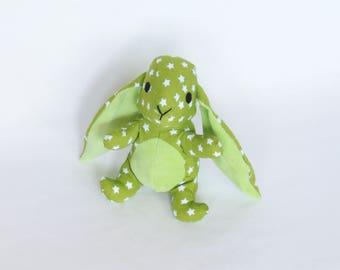 Doudou rabbit 17cm green stars