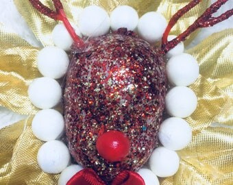 Vintage Christmas Glitter reindeer/red and gold/flower Brooch