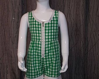 Green/White gingham cotton romper. 5/6/8/10 years. HAND MADE