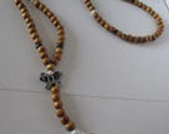 mala beads of natural pine and Pearl beaded necklace