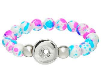 Elastic bracelet beads multicolor button for snap 21 cm