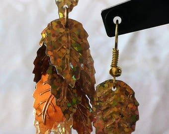 Earrings golden leaves 7cm