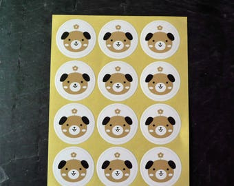 Set of 24 stickers round dog 3.5 cm