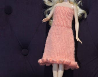 Knee-length strapless dress for Barbie, knitted by hands