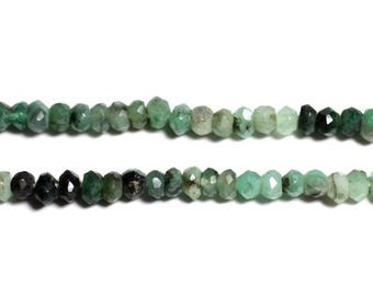 10pc - stone beads - Rondelle faceted 3x2mm nuanced Emerald - 4558550090287