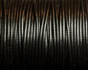 1 reel 90 m - wire cord 1.5 mm black waxed cotton cord