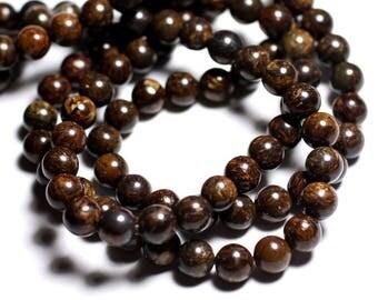 39cm - stone beads - Bronzite wire balls 4mm