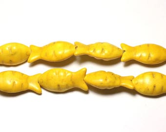 10pc - beads Turquoise synthetic reconstituted fish 24 mm yellow - 8741140010079
