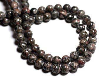 6PC - stone beads - Ocean fossil Jasper black balls 10mm - 8741140000742