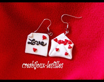 polymer clay, jewelry, earring, love letter, message of love, fimo, stroke, cernit, kawaii, love, gift.