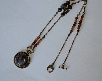 Vintage necklace Jisalee agate pendant style pocket watch