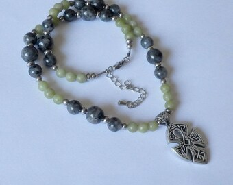Alyn mens larvikite necklace, marble from Connemara - ethnic pendant with Celtic Cross