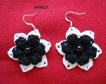 Earrings white flower cotton crochet