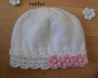 Hat, crochet baby hat, lace with 3 flower .bapteme