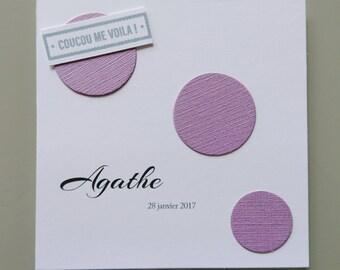 Invitation baby girl - congratulations - Lavender bubbles Theme - baptism invitation card - birthday child