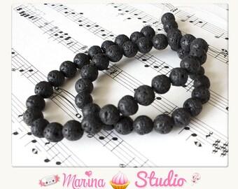 10 beautiful natural 8mm lava beads - n53920