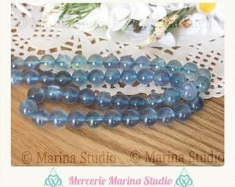 5 blue 8mm Fluorite beads * reiki * chakras