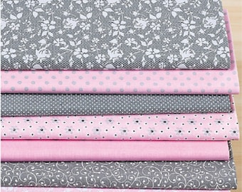 Set of 7 fabric patchwork 50 x 30 cm pink/gray