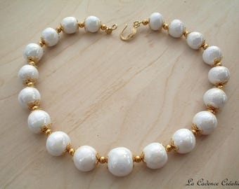 Iridescent pearly white ceramic beads necklace