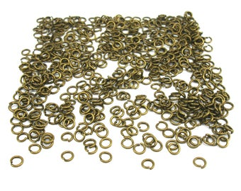 2000 4 mm antiqued bronze jump rings