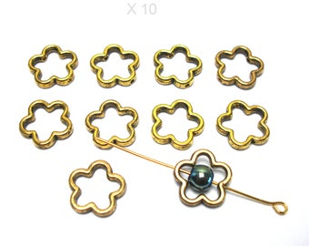 10 flowers beads in antique gold tone metal double