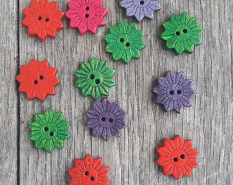 Promo: Set of 12 wooden buttons, flowers, 20mm, green, red, Fuchsia, purple / / ID N10