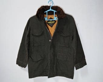 WORK BOX Vintage Dark Green Color Button-Up Jacket