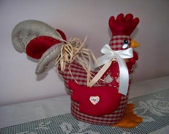 Hen, Rooster fabric wedge door block door wedge window Decoration decor - rustic country Style, cottage.
