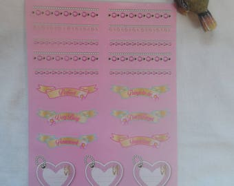 set of 19 tags, stickers Garland, various slogan label, rectangle label motif stickers