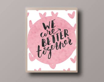 Rose Gold Foil Quote, Rose Gold heart, Motivational Quote, Gold Foil Print, Minimalist Print, Hipster Print, Teen Room Decor, Nursery print