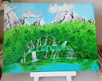 Watery forrest. Acrylic painted on canvas, originale handmade art-work. One of a kind art.