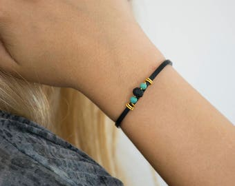 Leather Bracelet For Women With Beads, Delicate Bracelet, Leather Lace Bracelet, Glass Beads Bracelet, Ideal Gift For Her.